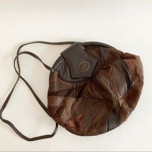 Patchwork Leather Brown Crossbody Bag
